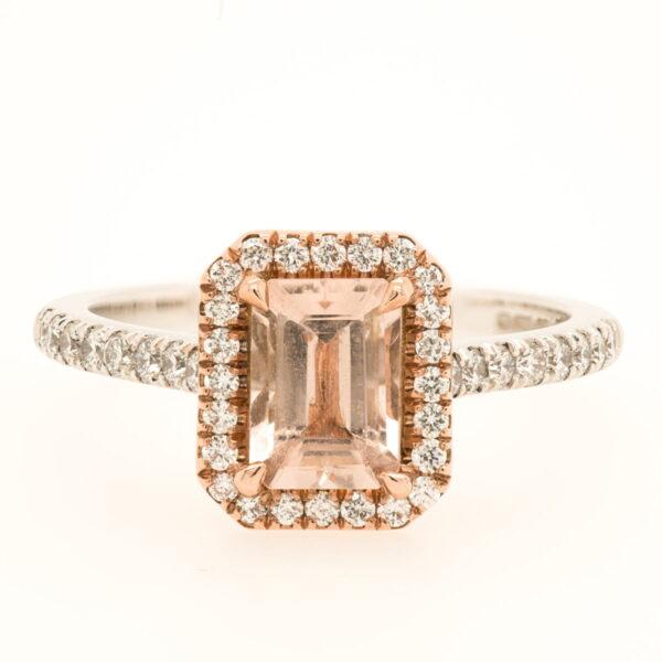 Alan Dalton goldsmith diamond morganite halo