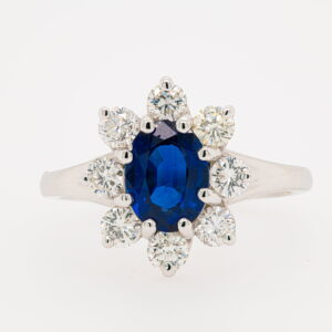 Alan Dalton goldsmith sapphire cluster diamonds
